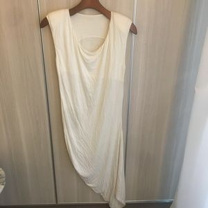 Dresses & Skirts - Designer White a-symmetrical dress w shoulder pads